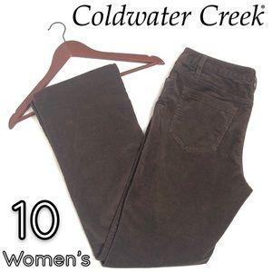 Coldwater Creek brown velvet bootcut jean pants